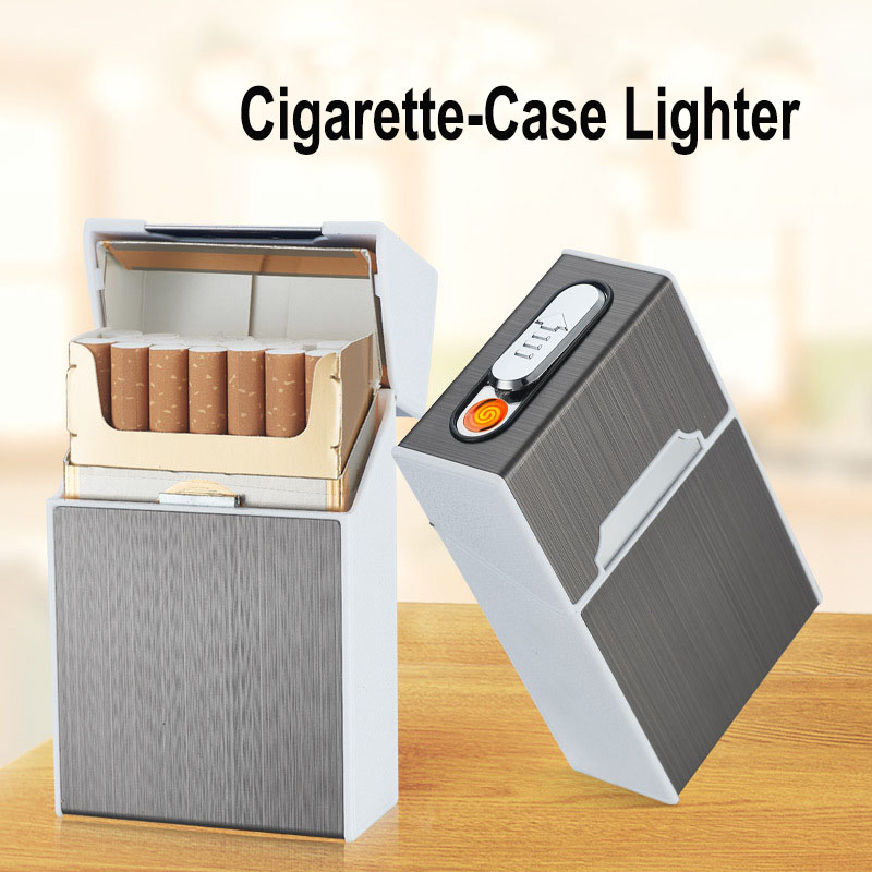 Portable USB Rechargeable Cigarette Case With Lighter Electric Metal Charging Lighters 20pcs Cigarette Holder Cigarettes Box