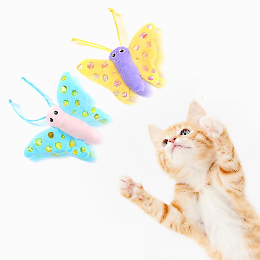 2020 Lucu Lucu Mewah Kupu Kupu Hewan Peliharaan Kucing Anak Kucing Menangkap Hewan Peliharaan Interaktif Perlengkapan Bermain Mainan Suara Mainan Aliexpress