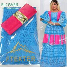 2,5 + 2,5 yardas Bazin Riche con suizo de la gasa en Suiza para Nigeria señora india cuenca Riche nuevo diseño seco telas de encaje