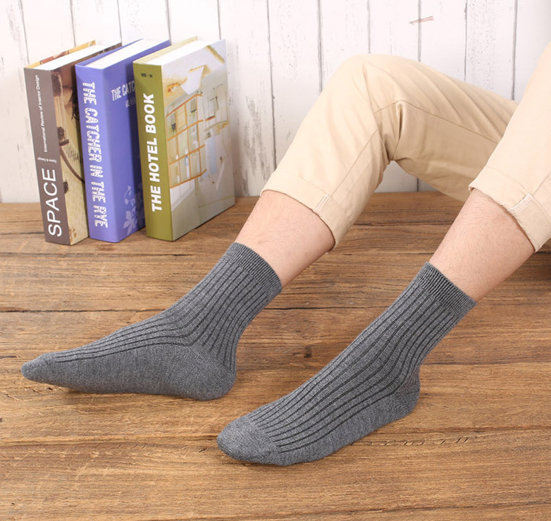 Autumn And Winter New Men's Double Needle Vertical Cashmere Warm Middle Tube Socks Solid Color Business Leisure Thickened Socks
