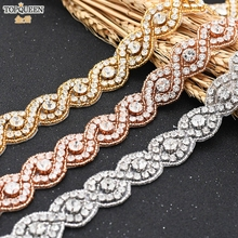 Rhinestone Strass Pearl-Patch Wedding-Belt Crystals Applique TOPQUEEN for Iron Glass
