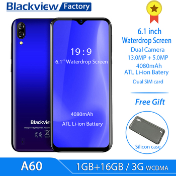 Blackview A60 4080mAh Smartphone Quad Core Android 8.1 Cellphone 6.1 inch 19.2:9 Screen Dual Camera 1GB+16GB Mobile Phone 1
