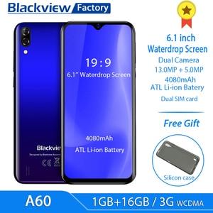 Blackview A60 4080mAh смартфон 4 ядра Android 8,1 мобильный телефон 6,1 дюймов 19,2: 9 Экран двойной Камера 1 Гб + 16 Гб мобильный телефон