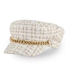 2019 Fashion Hat Luxury Visor Women Autumn Winter Woolen Plaid Military Hats Flat Top Caps Octagonal Navy Cap White Ladies цена 2017
