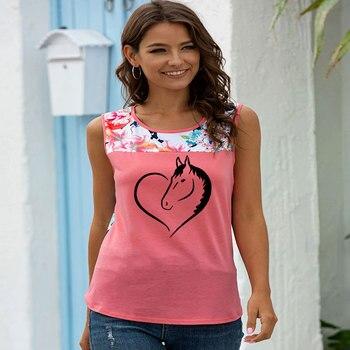 Love Heart Horse Printed T Shirt Women Sleeveless O-neck Funny pattern Tshirt Streetwear Summer Tops 2020 Tee Shirt Femme