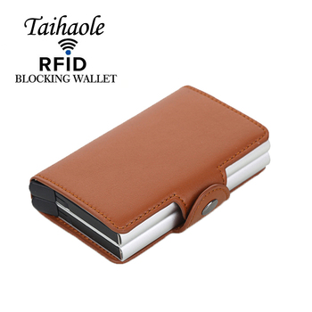 2020 Credit Card Holder Men and Women PU Leather Double Case Business Card Wallet Fashion Aluminum RFID ID Card Case Cardholder pu card case