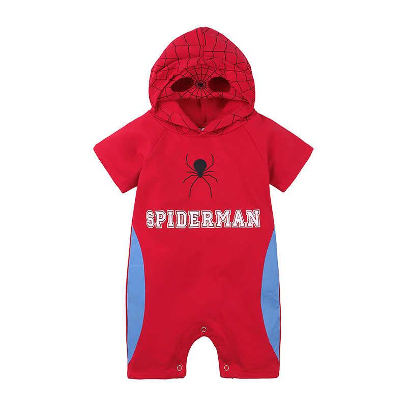 Baru Fashion Bayi Baru Lahir Jumpsuit Musim Panas Lengan Pendek Kartun Baju Monyet Bayi Anak Laki-laki Anak Perempuan Kostum Superhero Berkerudung Anak Baju Monyet 1- 2 Tahun