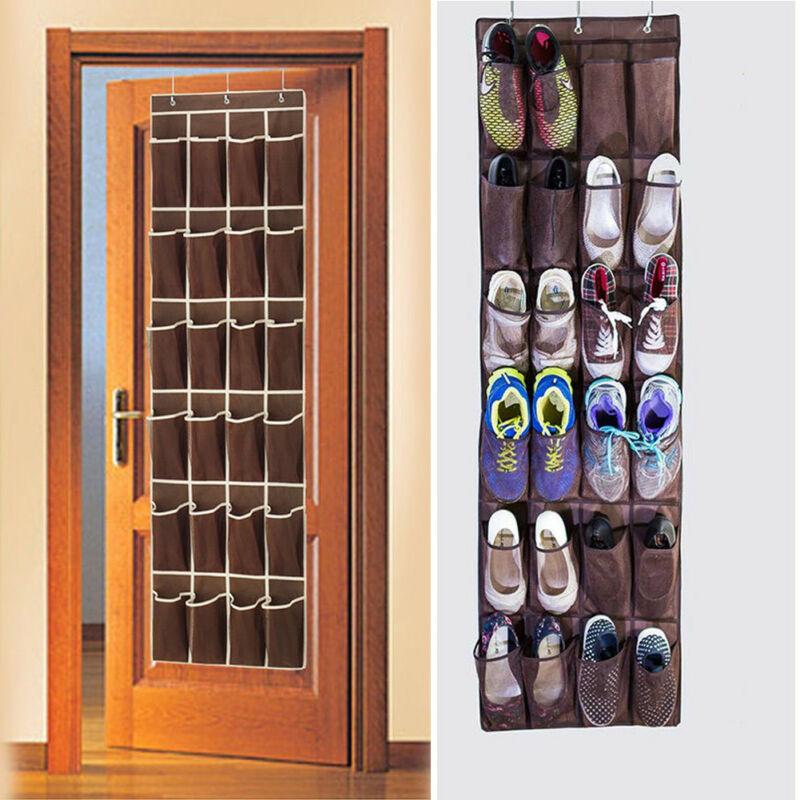 Over the Door Shoe Organizer Rack Hang Storage Space Saver Hanger 24 Pocket sdf