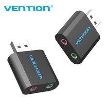 Vention 외부 USB 사운드 카드 3.5mm 헤드폰 이어폰 어댑터 마이크 스피커 용 Aux 오디오 카드 PUBG 컴퓨터 사운드 카드