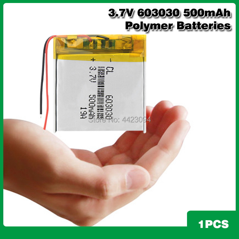 <font><b>3.7V</b></font> <font><b>500mAh</b></font> 603030 Lithium Polymer <font><b>Li</b></font>-<font><b>Po</b></font> <font><b>li</b></font> ion Rechargeable <font><b>Battery</b></font> For toys speaker Tachograph MP3 MP4 GPS Bluetooth Lipo cell image