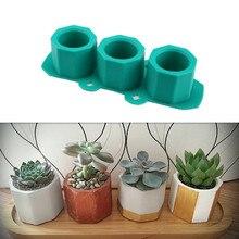 Силиконовые формы для горшков, формы для рукоделия, полигональные формы для стаканчиков, сделай сам, суккулент, цветочный горшок, глина, штукатурка, гипсовая форма, 3 отверстия, бетонная форма
