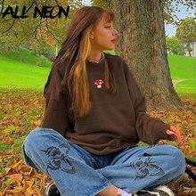 ALLNeon Y2K estetik mantar nakış boy tişörtü Vintage kahverengi Crewneck uzun kollu üst 2000s moda Streetwear