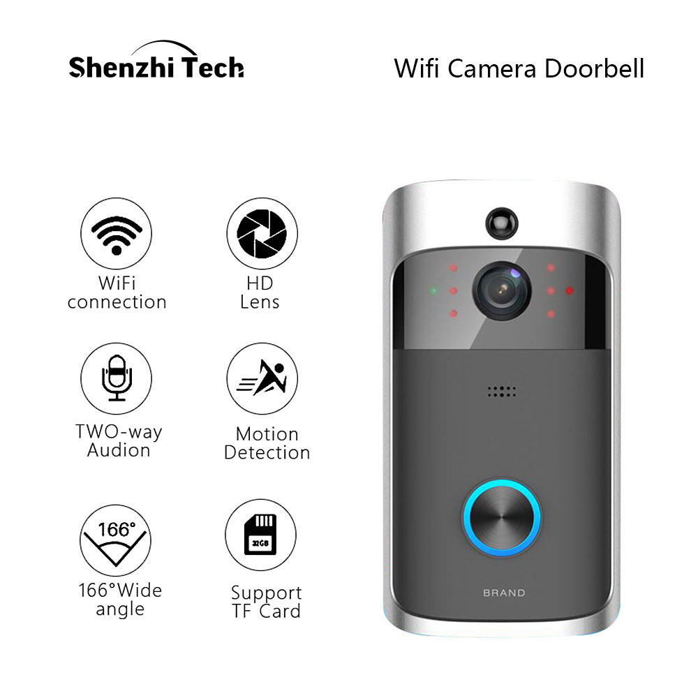 WIFI Camera Doorbell, 2 Batteries Smart IP Camera Motion Detection Night Vision Two-way Audio Home Security Camera Doorbell D001