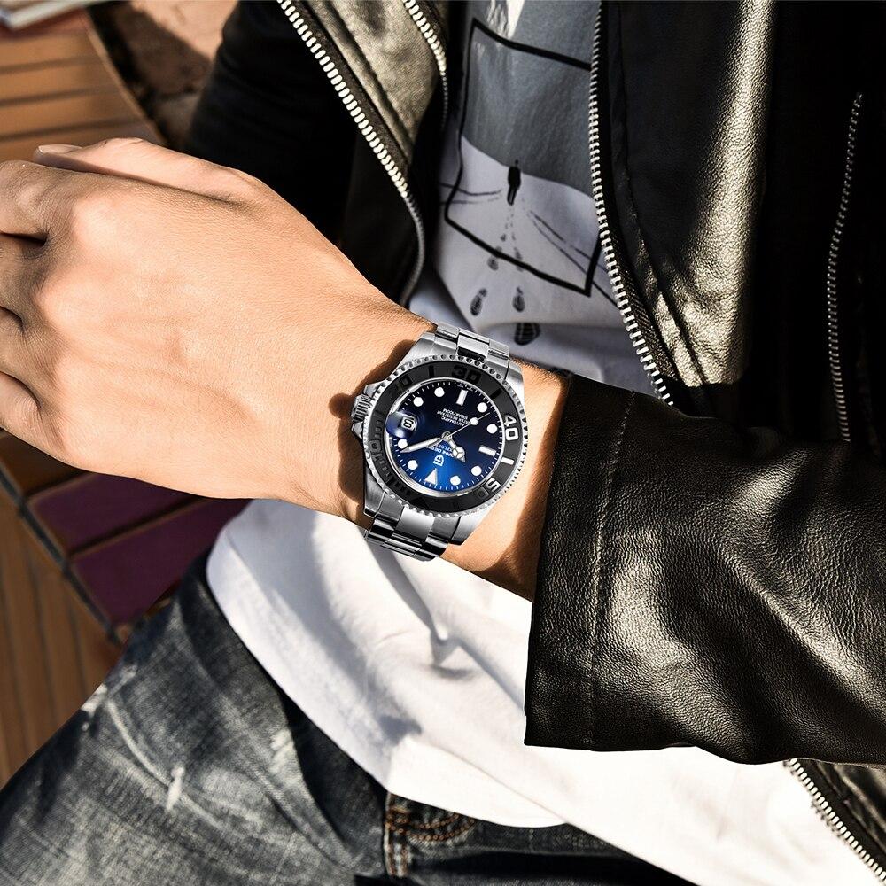 Topo da Marca Mecânico de Aço Inoxidável à Prova Automático de Luxo Relógio de Pulso Pagani Design Relógio Dwaterproof Água Masculino Men