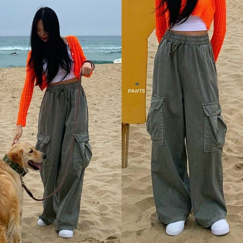 Autumn Korean Solid Color Girl Retro Overalls Female Casual Loose Wide Leg Pants Hip-hop Cargo Pants Pocket Lace Up Trousers