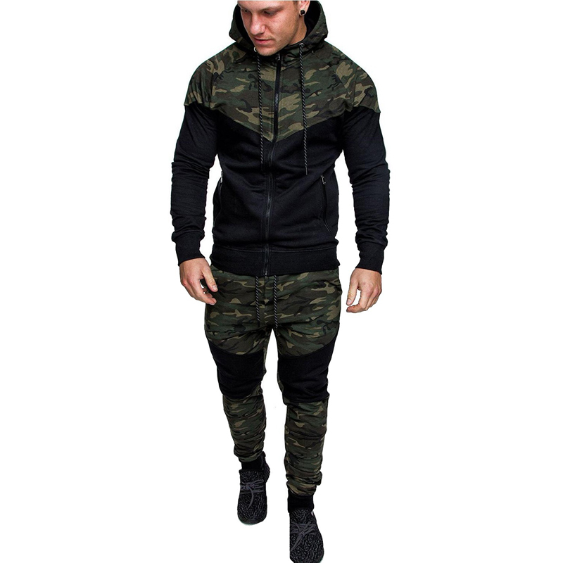 Spring And Autumn New Men's Casual Suits Fashion Camouflage Stitching Hooded Sweater Men's Outdoor Sportswear + Pants Sports Sui
