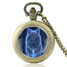 High Quality Vintage Wolf Head  Glass Dome Quartz Pocket Watch Retro Men Women Bronze Necklace Pendant Gifts