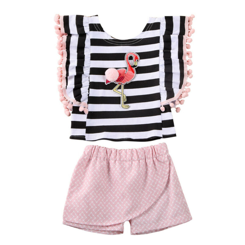 Summer Baby Kids Girl Flamingo Print Stripe Tassels T shirt Tops Short Pants Outfit Clothes Summer Casual Girls Clothing