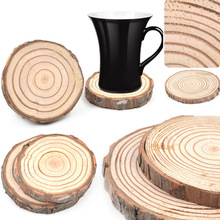 Natural Round Wooden Coaster Slice Cup Mat Coaster Tea Coffee Mug Drinks  Holder for DIY Tableware Decoration Durable Coaster