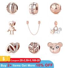 Authentic Original 100% 925 Sterling Silver Charm Bead Rose Gold Pendant Clip Charms CZ Fit Pandora Bracelets Women DIY Jewelry недорого