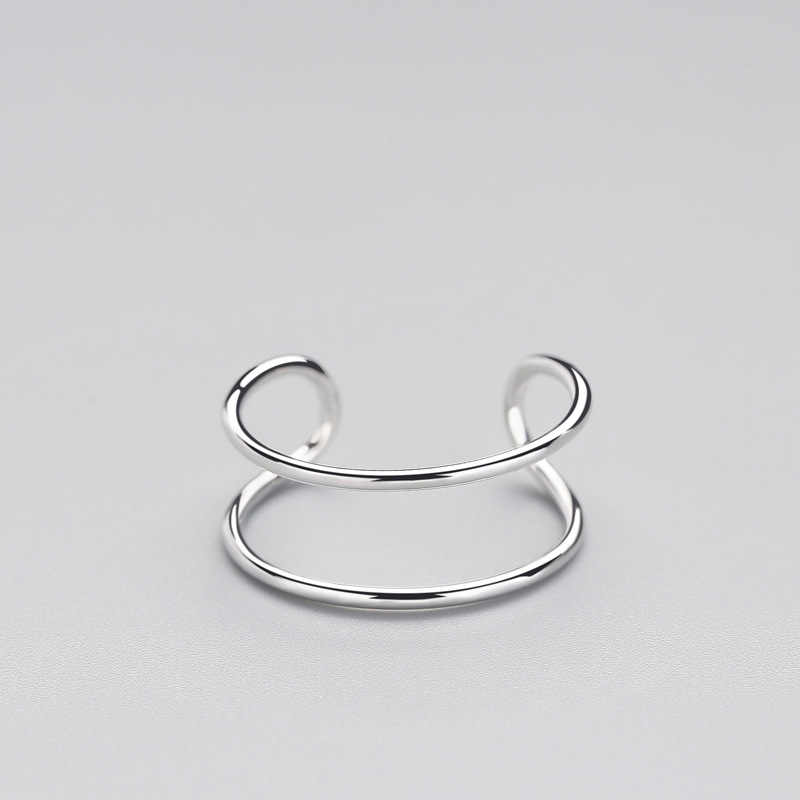 Minimalistyczny geometryczny podwójna linia regulowany pierścień oryginalna 925 Sterling Silver Trendy biżuterii dla urok kobiety Bijoux