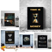 Canvas Painting Time Is Money Wall Artwork Hourglass Watch Modular Picture Modern Success Printed Poster for Living Room