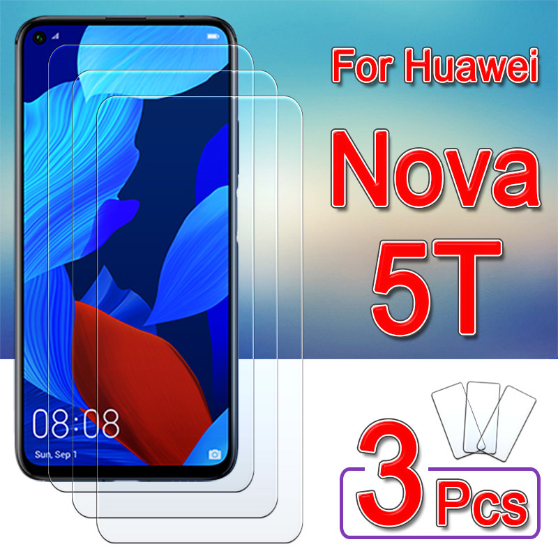 for huawei nova 5t glass protective Screen Protector on Nova5t 5 T T5 Tempered Glas huawei5t safety armored sheet film 1-3pcs