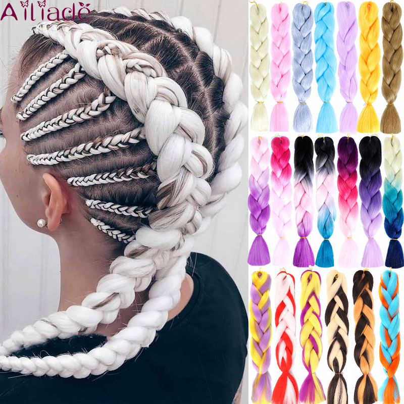 AILIADE  24inches 1pack Ombre Hair Bundles Synthetic Jumbo Braiding Hair Kanekalon Crochet Purple Rainbow Fake Hair Extensions