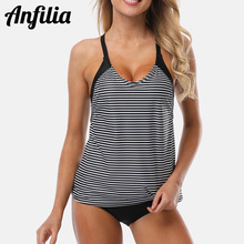 цена на Anfilia Women Two-piece Swimsuit Striped Tankini Set Swimwear Halter Padded Bandage Bathing Suit Beachwear Bikini