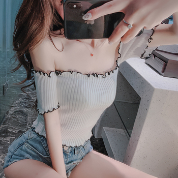 2020 nian Summer New Sexy off-Shoulder Tube Top Short Midriff-Baring Knitted Small Wrapped Chest new ins sexy off shoulder copper buckle knitted off shoulder top