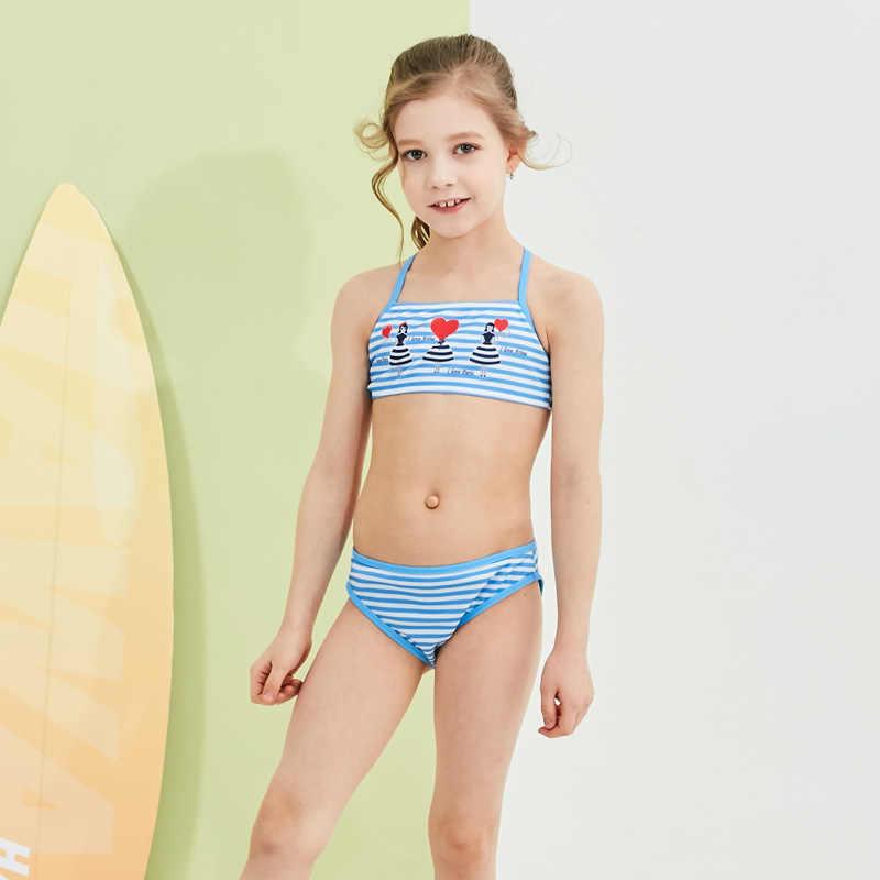 2019 ใหม่เด็กผู้หญิงชุดว่ายน้ำเด็กชุดว่ายน้ำบิกินี่ชุดว่ายน้ำเด็กสวย Strip Top Halter ชุดว่ายน้ำสำหรับสาว Beachwear