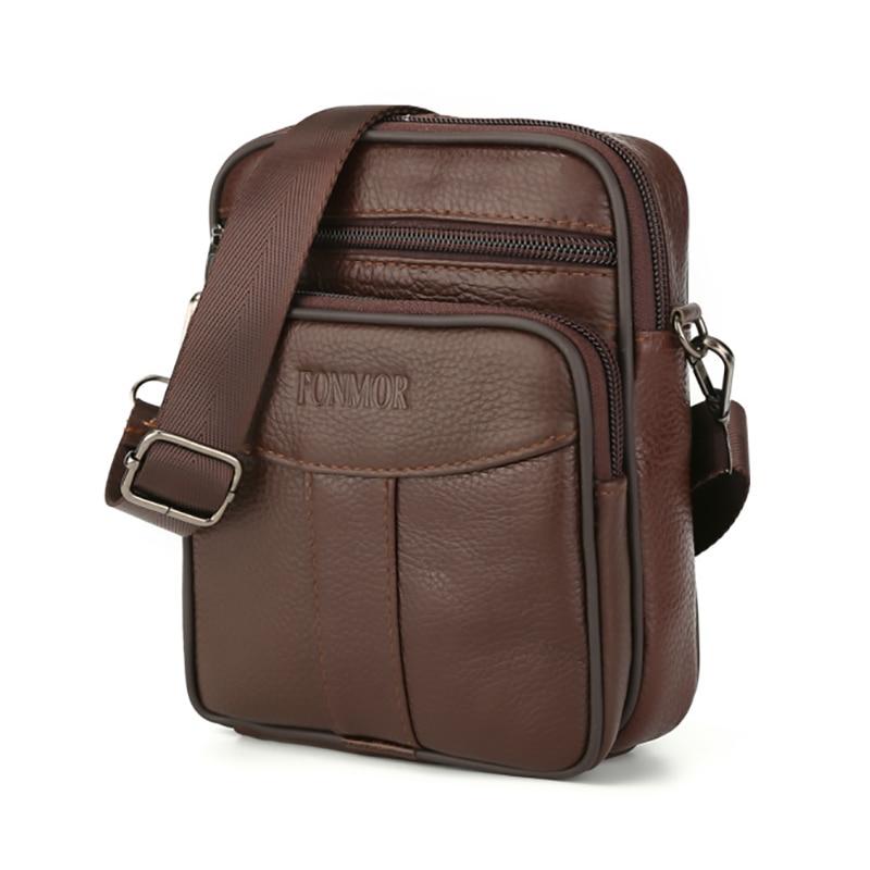 Genuine Leather Men Crossbody Bag Casual Single Shoulder Bag Business Working Notebook Pack Messenger Bags Male Flap Waist