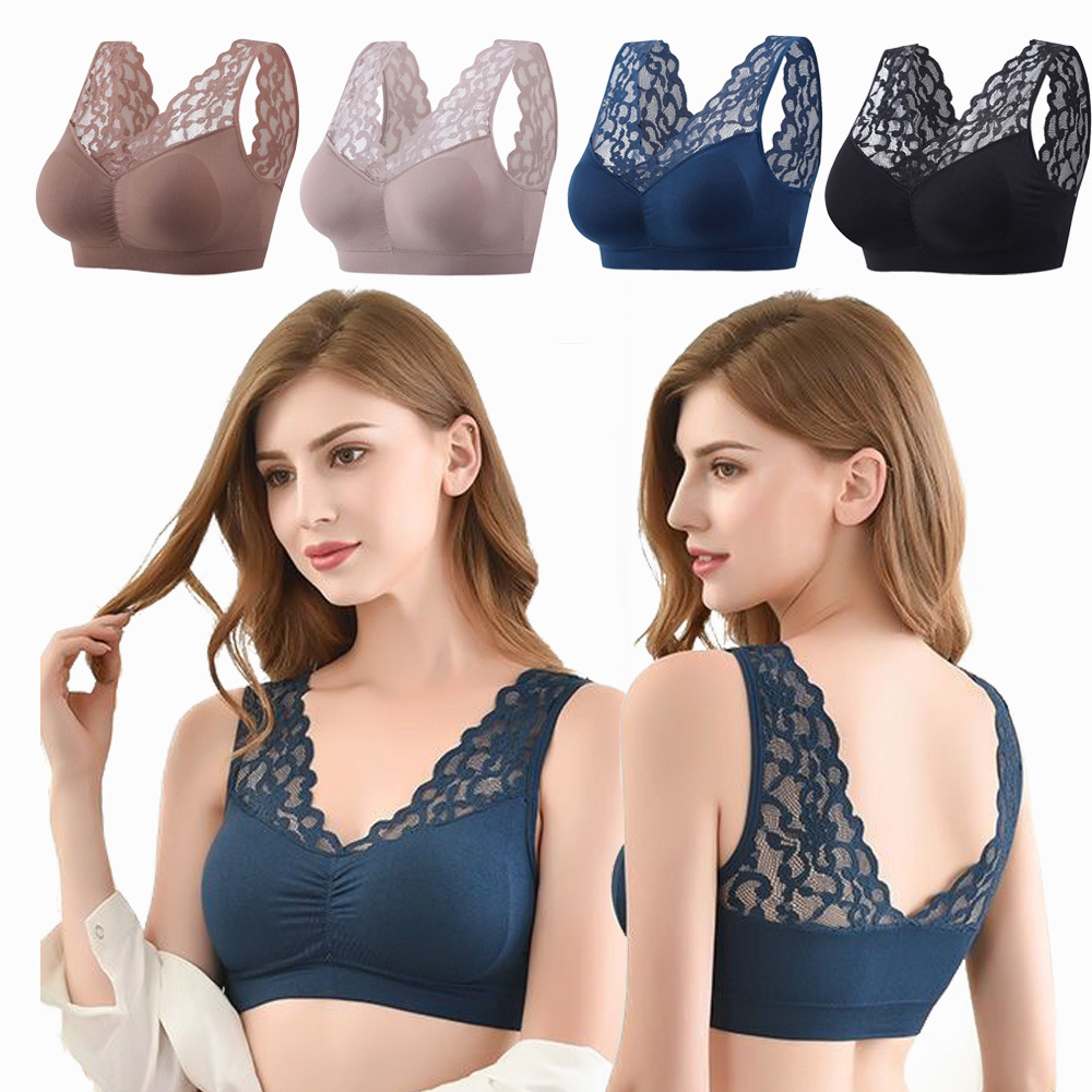 Women Lace Sexy Bras  Tops Women Intimates Push Up Comfort Super Elastic Breathable Lace Bra