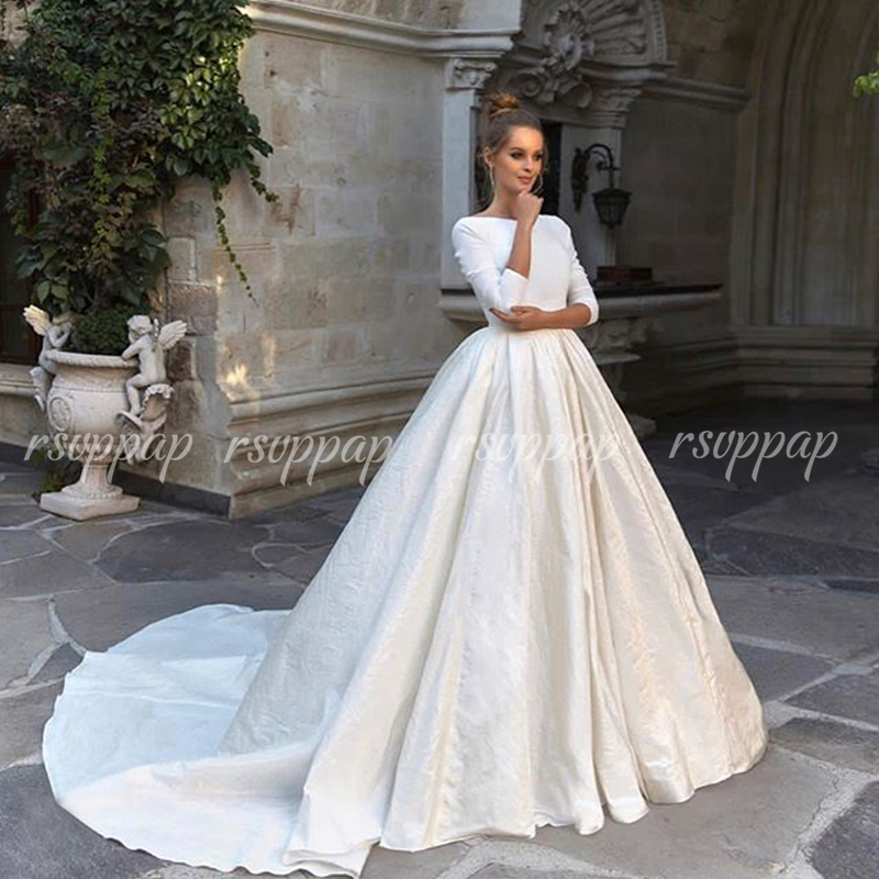 Simple Women Long Sleeve Bridal Wedding Gowns Puffy Backless White Satin Wedding Dress 2020