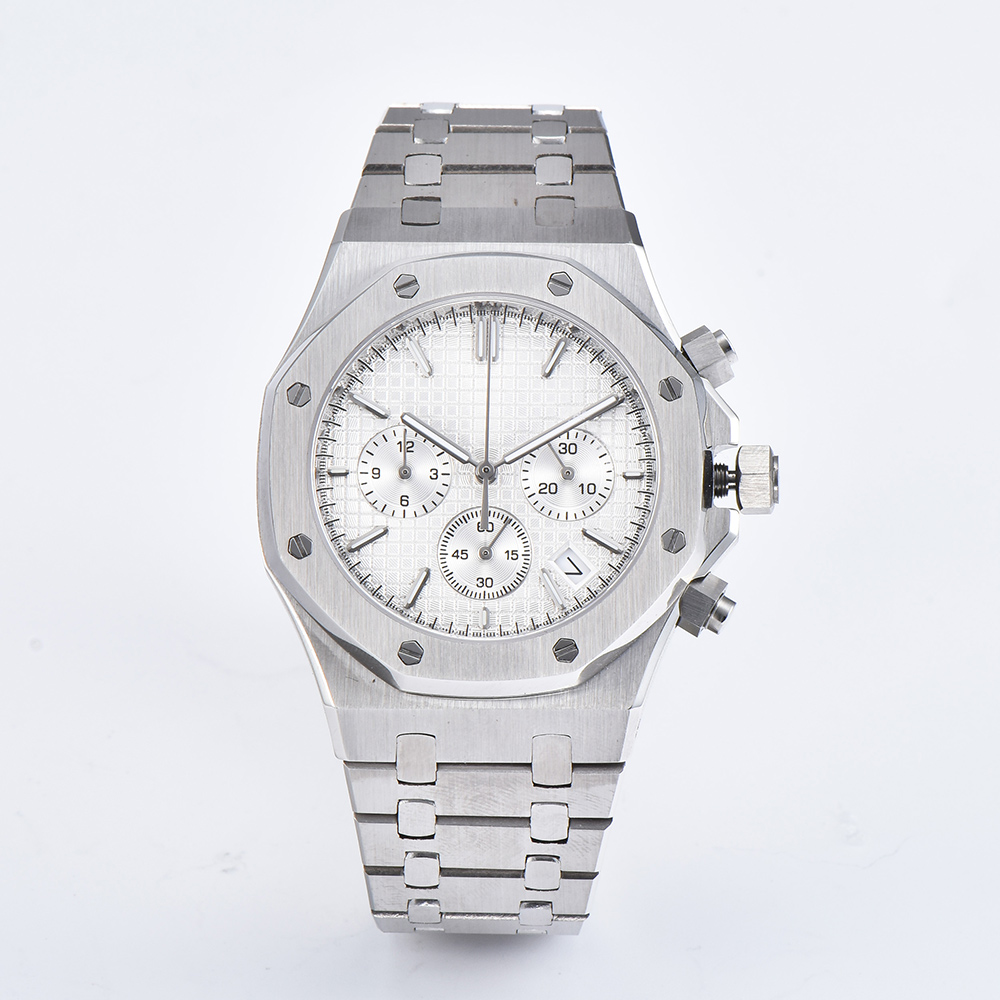 41mm hommes montre vk Quartz mouvement japonais chronographe montre acier inoxydable Bracelet saphir cristal montre-Bracelet hommes