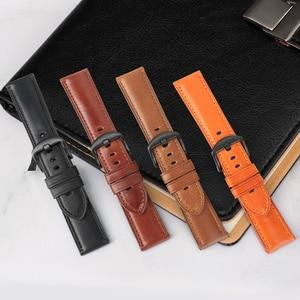 Image 4 - MAIKES אמיתי עור שעון רצועת 20mm 22mm 24mm גברים רצועת השעון עם נירוסטה אבזם להקת שעון עבור casio מאובנים