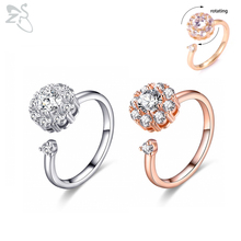 ZS Trendy Spinning AAA Cubic Zirconia Ring For Women Girls Open Adjustable Roating Rings Wedding Party Engagement Ring Jewelry angelfrigg trendy women rings with aaa cubic zirconia wedding engagement anniversary fashion ladies jewelry gift