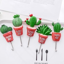 Wall Hook Cactus Adhesive Artificial Flower Pot Plant Home Decor Storage Organizer Key Rack Bathroom Kitchen Towel Hanger(China)