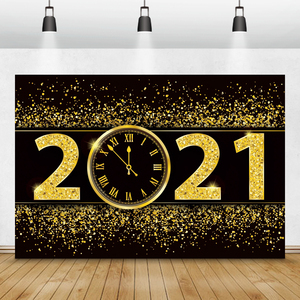 Happy New Year Of 2021 Background For Photography Gold Dots Clock Party Celebration Poster Photo Backdrop Photocall Photostudio