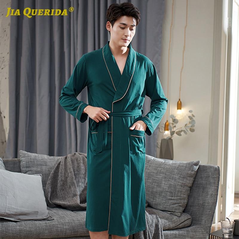 Fashion Soft Long Sleeve Solid New Green Man Robe Kimono House Coat Yukata Robe For Man Bath Robe Home Robe Night Robe Cotton