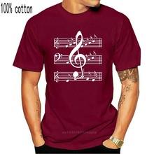 Музыкальные ноты-футболка унисекс из хлопка