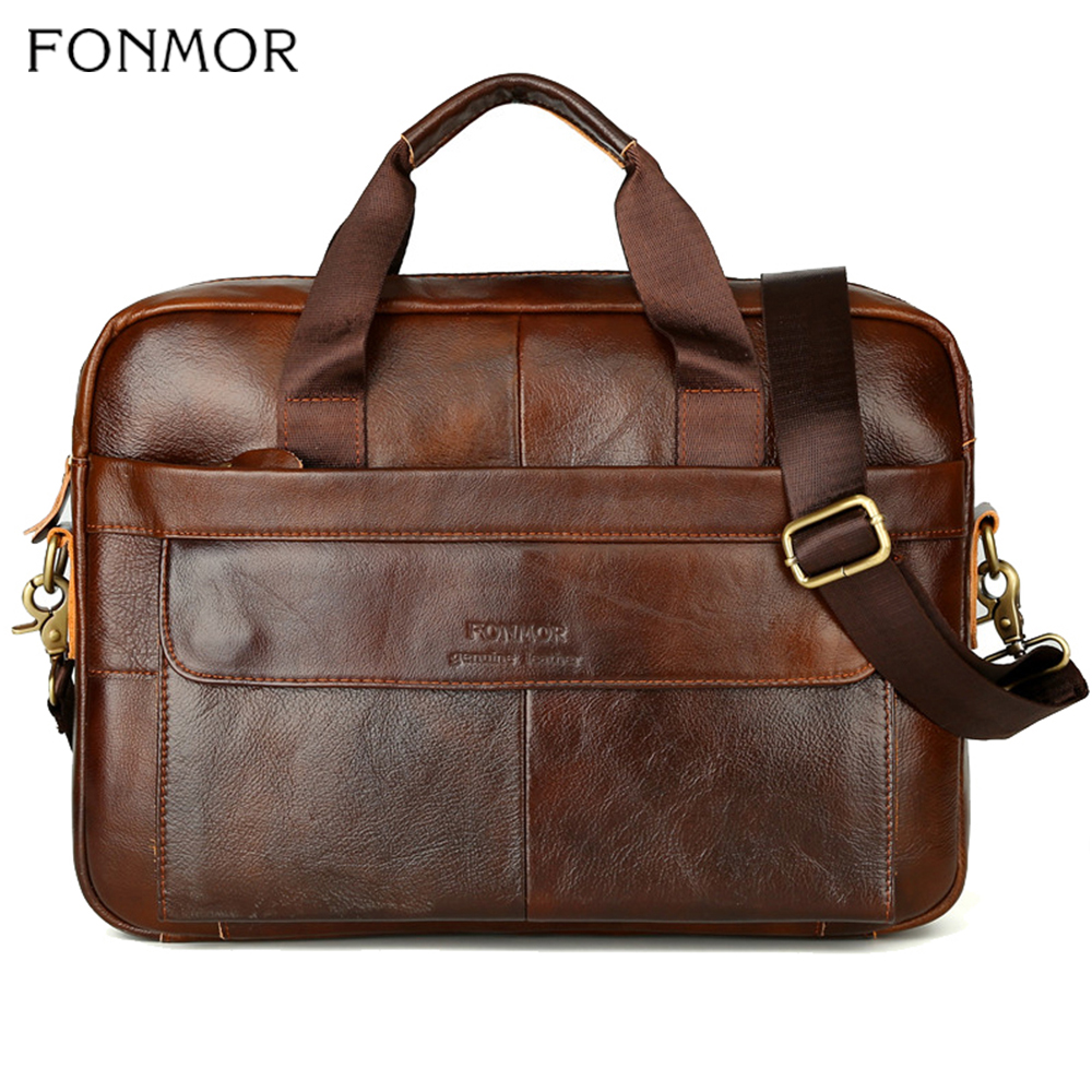 Fonmor Men Briefcase Laptop-Bag Crossbody-Bag Handbags-Cowhide Brown Travel Genuine-Leather Business Large-Capacity Shoulder-Bag