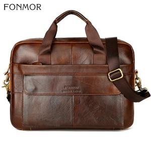 Image 2 - Fonmor Men Briefcase Laptop Bag Crossbody Bag Handbags Cowhide Brown Travel Genuine Leather Business Large Capacity Shoulder Bag