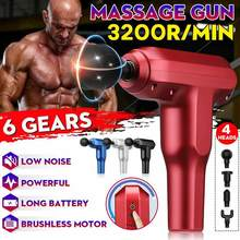 LCD Display Massage Gun Mini Rechargeable Neck Body Muscle Pain Relieve Massager 4 Heads Deep Vibrator Slimming Shaping Fitness(China)