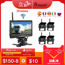 """Podofo Wireless 4 Backup Cameras IR Night Vision Waterproof with 7"""" Rear View Monitor for RV Truck Bus Parking Assistance System"""