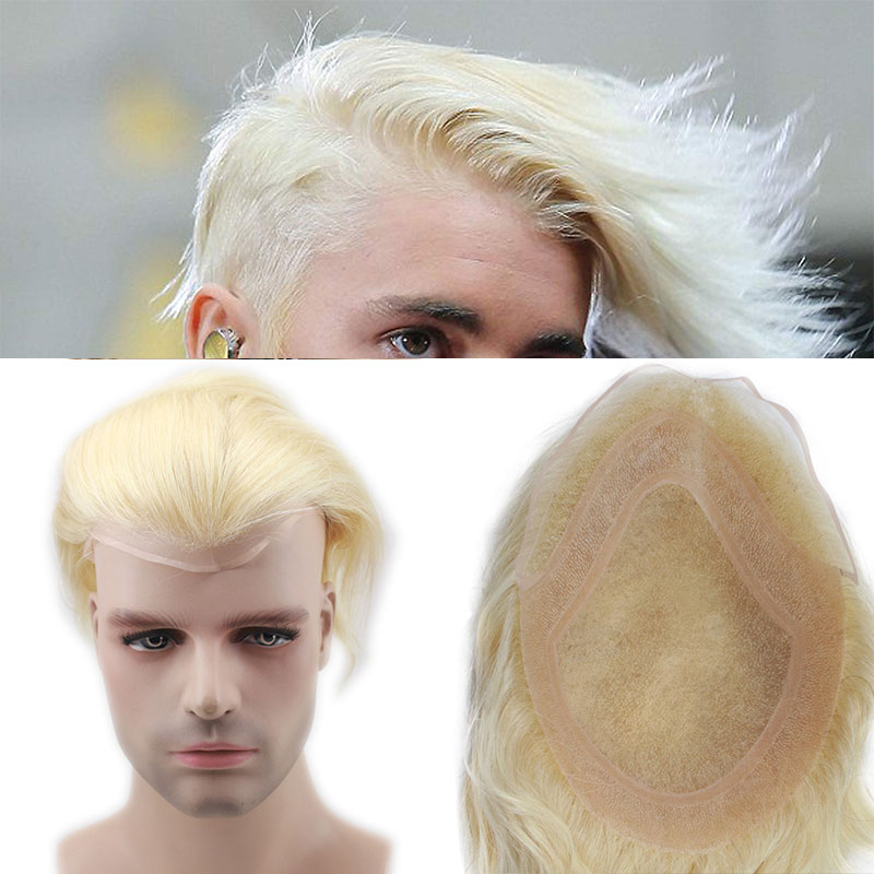 Human Hair Men Hairpiece Toupee French Lace Replacement For Men Wig Thin Skin European Remy Hair 613 Blonde Color 10