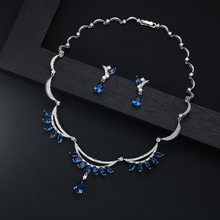 Pendants Fahsion Wedding Ladies Jewelry Sets For Women Luxury Crystal Zircon Earrings Necklaces Set jewellery(China)