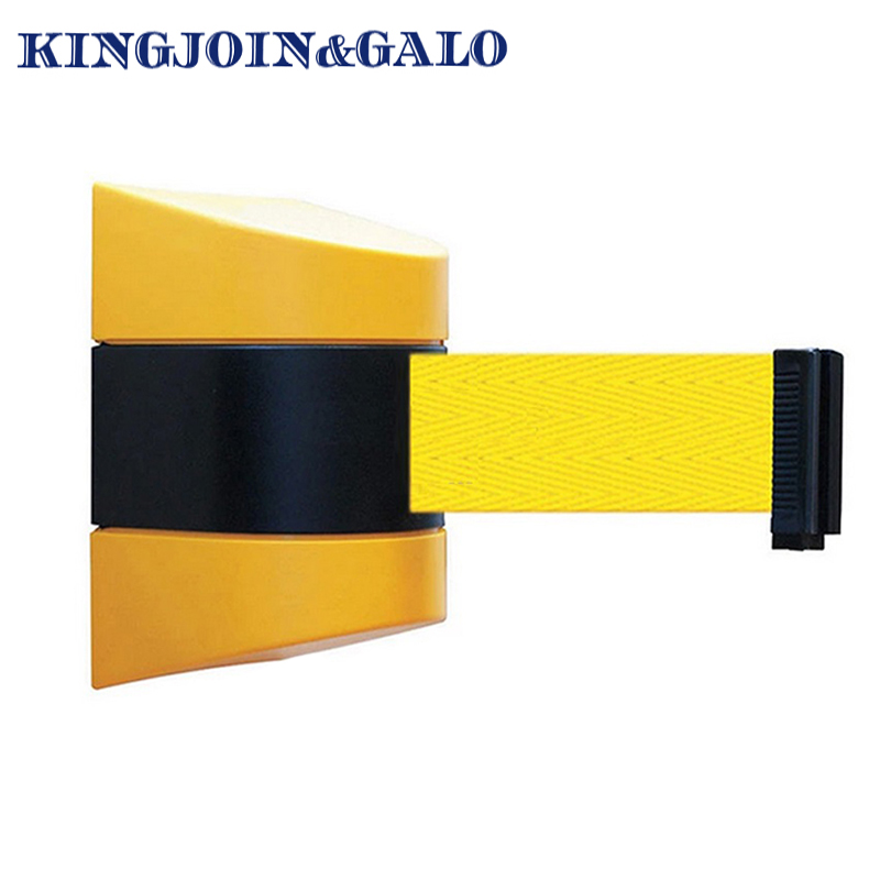 10m Pure Yellow Belt Wall Amount Retractable Barrier Tape Safety Warehouse Workshop Crowed Control