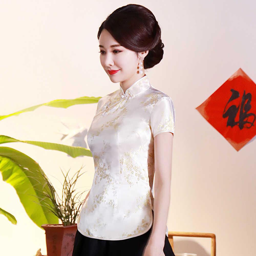 중국어 번체 여성 톱 플러스 크기 3xl 4xl 블라우스 새틴 플라워 셔츠 빈티지 수제 단추 셔츠 짧은 소매 의상