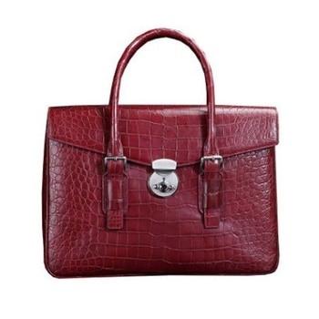 ourui true The crocodile belly men A briefcase Large bamboo Genuine leather handbag male men handbag